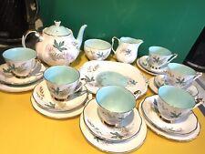 More details for royal adderley louise bone china tea pot set jug sugar bowl cake plate gold rim