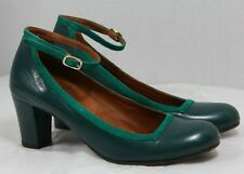 CHIE MIHARA SHOES OCEAN ANKLE STRAP PUMP TEAL LEATHER HEELS 37