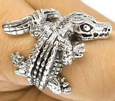 CROCODILE ALLIGATOR STERLING 925 SILVER RING Sz 9.5 - HEAVY & THICK TOP QUALITY