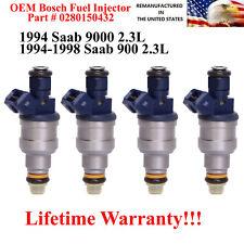 Set of 4 0280150432 OEM Bosch Fuel Injectors for 1994-1998 Saab 900 9000 2.3L