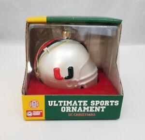 Miami Hurricanes NCAA Football Helmet Christmas Tree Ornament ACC Holiday Glass