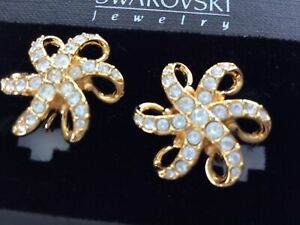 NEW SWAROVSKI STARFISH GOLD TONE CLEAR  CRYSTAL CLIP-ON EARRINGS NEW