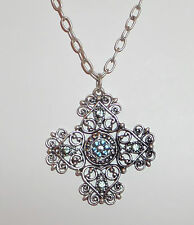 FANCY MALTESE CROSS SILVER PLATED PENDANT NECKLACE BLUE STONES 18""