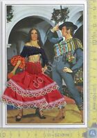 Cartolina  Ballerina Flamenco 1 - ricamata con busta Hotel Praga - Brodee