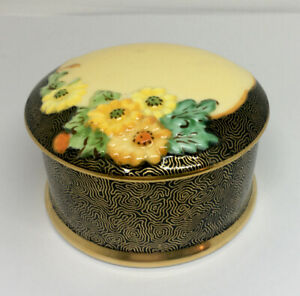 Plant Tuscan China Round Trinket Box, Numbered, Floral Design, England, 1940's