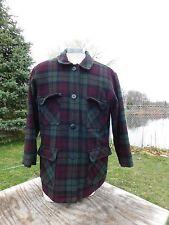 Vintage Women's Woolrich Button Burgandy & Green Plaid Coat Size Large