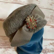 Vintage Womens Mahara Mohair Gray/Brown Hat