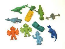 Vintage Rubber Toy 11 Eraser Lot Diener Monster Dinosaur Rocket Pencil Toppers