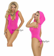 PLUS SIZE TEDDY Deep-V HOODED OPAQUE Hot Pink Leotard BODYSUIT Full Back QUEEN