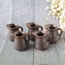 5x Ceramic Brown Pitcher Jug Dollhouse Miniatures Food Supply Wholesale Lot