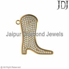 14k Yellow Gold Pave White Diamond Boot Charm Pendant Finding Fashion Jewelry