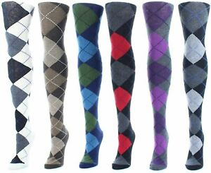 MeMoi Campbell Argyle Sweater Tights   Hosiery, Taupe Heather, Size