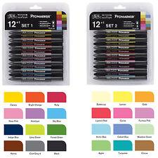 WINSOR NEWTON Pro Marker Set 1 + 2 24 Colours + 2 Blender Pen Drawing LETRASET