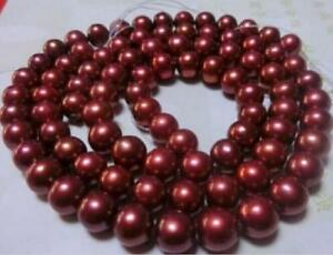 "Huge AAAAA 9-10MM Natural Red perfect ROUND south sea Pearl necklace 35"" 14K"