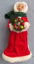 Byers Choice Caroler Mrs Santa Claus in Red Velvet Dress Holding a Wreath