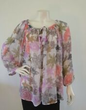 ROXY TOP Floral Print Adjustable Sleeve Size 16