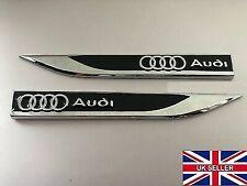 2 x Audi Black Fender Side Wing Metal Sticker Badge Emblem ( UK Quick Delivery )
