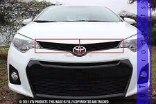 GTG 2014 - 2016 Toyota Corolla S 2PC Gloss Black Overlay Upper Billet Grille Kit