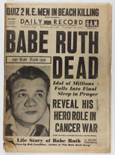 Babe Ruth Dead Original Vintage Antique Newspaper 1948