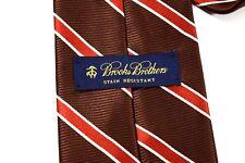 Brooks Brothers Gentleman's White, Red, Chocolate Striped Silk Necktie - USA
