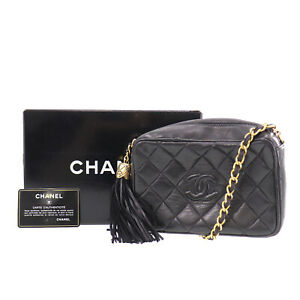 CHANEL Quilted Chain Shoulder Bag Black Lambskin Leather Vintage Auth #ZZ812 O