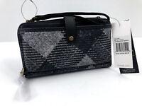 NWT SAK Holden Smartphone Phone Wristlet Crossbody Wallet Black White Plaid