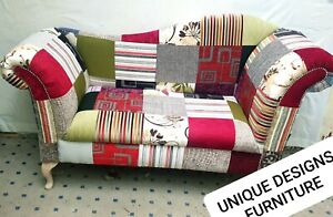 patchwork 2 seater love seat sofa two seater chaise lounge