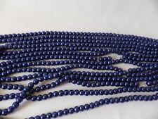 100+ PC X de cristal de perla redonda con cuentas de 8 mm: #31A brillante Denim/Azul Marino