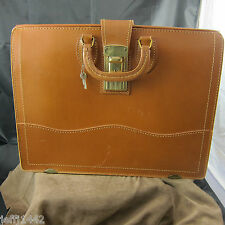 "Vintage Large Top Grain Cowhide Cognac attorney briefcase w/key 18"" x 14"" x 8"""
