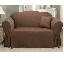 Sure Fit Soft Suede Loveseat Slipcover in Chocolate Brown Box Style Seat Cushion