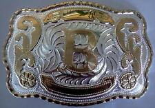 "NEW INITIAL "" B ""  RODEO BIG COWBOY WESTERN BELT BUCKLE"