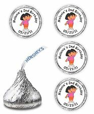 108 PERSONALIZED DORA BIRTHDAY CANDY FAVORS FOR  KISSES LABELS  STICKERS DECAL