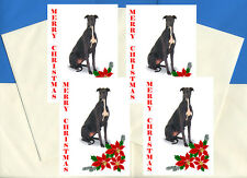 GREYHOUND PACK OF 4 CARDS DOG PRINT GREETING CHRISTMAS CARDS