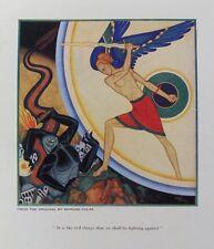 VECCHIO ART PRINT Edmund DULAC giovane GUERRIERO EVIL MONSTER c1939