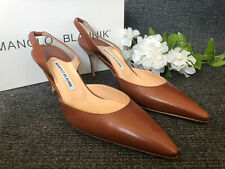 MANOLO BLAHNIK Carolyne Luggage Brown Leather Heels Pumps Shoes sz 39 NEW