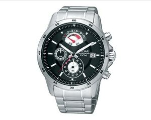 Seiko Pulsar Watch * PS6019 Chronograph Black Dial SIlver Steel COD PayPal