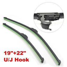 "All Season Combo 19""+22"" U/J Hook Bracketless Windshield Wiper Blades C01"