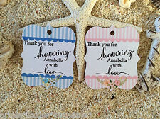 10 White Gift Tags Bomboniere Baby Shower Favour Personalised Thank you Va