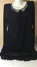 N1158 NWT Victorias Secret Chiffon M Black Swarovski Bling Long Sleeve Dress
