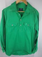 Brumby Green Cotton Half Button Shirt Mens M