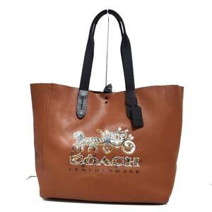 Auth COACH 36740 Brown Black Multi Leather Cotton Tote Bag