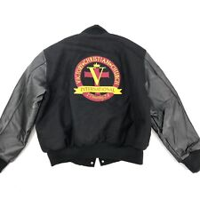 VICTORY CHURCH Men's 2XL Varsity Jacket Black Wool Leather Christian NEW