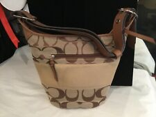 AUTHENTIC SIGNED COACH LEATHER & CANVAS LOGO HOBO HANDBAG MUST SEE NO RESERVE