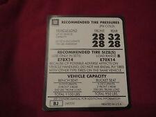 "1974 1975 1976 1977 CHEVROLET NOVA 14"" TIRE PRESSURE DECAL STICKER NEW"