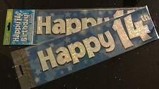 14th Boys Birthday Banner * Blue Foil * 2.7m will split into 3* 14th Birthday
