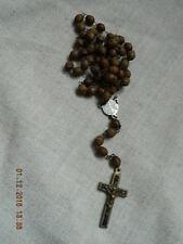 @@@ Wunderschöne Rosenkranz Kette alt antik olivenförmig Kreuz genietet @@@
