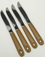 4 Imperial Stainless 1971 Casualware Golden Mustard Yellow Coated Dinner Knives