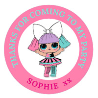 Personalised Party Bag Stickers LOL Dolls x48 Sweet Bag Seals 40mm Labels