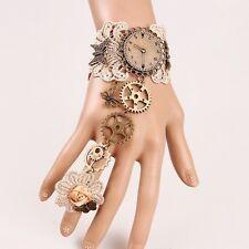 Vintage Gothic Steampunk Watch Gear Bracelet With Ring Victorian Lace Wrist Cuff
