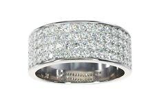 14k White Gold 2.00ct Diamond Men's Wide Wedding Dress Large Ring Sz.Z+1 #78874